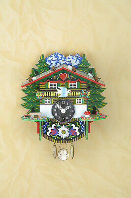Black Forest Clock Pendulum Cuckoo Fawn Wooden House Alps 57pq
