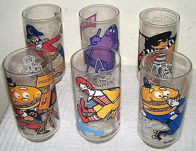 Vintage 1977 Complete Set of 6 McDONALD'S McDONALDLAND ACTION SERIES GLASSES