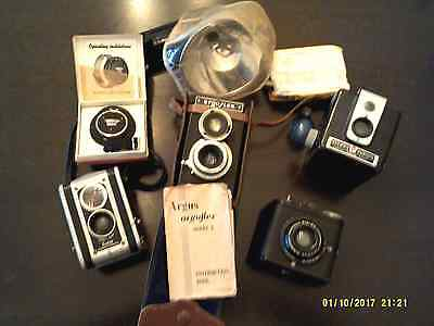 Vintage Camera & Accessories Lot Argus Argoflex Kodak Duaflex Hawkeye Chronos