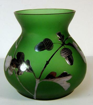 Antique Bohemian Green Satin Glass Vase with Silver Acorn Overlay