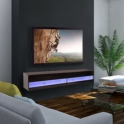 HOMCOM 180cm Wall Mounted TV Stand LED Cabinet Entertainment Center High Gloss