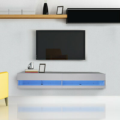 HOMCOM Wall Mounted LED TV Stand 180cm Storage Cabinet Media Center High Gloss