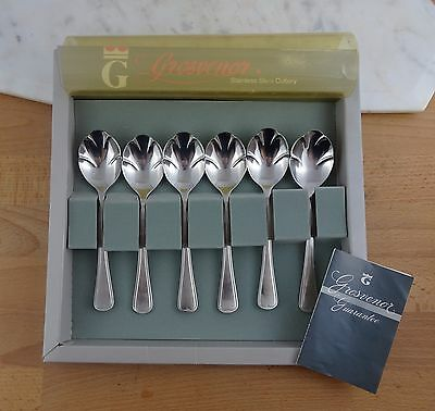 Vintage Set of 6 Grosvenor Ice Cream Spoons, Stainless Steel Cutlery in Box