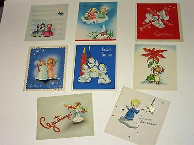 Lot of 8 Vtg 40's Christmas Card Angels w stars, candles, music, one Norcross