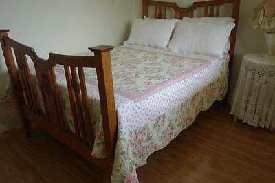 Beautiful Pink Country Roses Quilted Cotton Vintage Look Bedspread 245x220