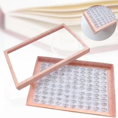 Pink 100 Slot Ring earring Jewellery Box Display Tray Case Storage Organizer SP