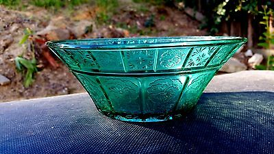 "Teal Ultramarine Doric & Pansy 8"" Large Berry Bowl"