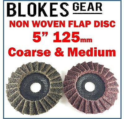 2 x NON WOVEN SCOTCH POLY FLAP DISC WHEEL ANGLE GRINDER GRINDING METAL SANDING