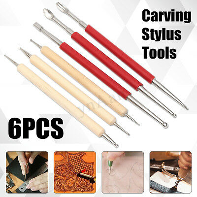 6PCS Lot Leather PMC Craft Modelling Splicing Embossing Spoon & Carving Tool Kit