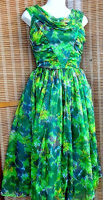 Vintage Party Dress / S 34 36 / Prom / Sixties / 1960S / Nylon / Green / Canada