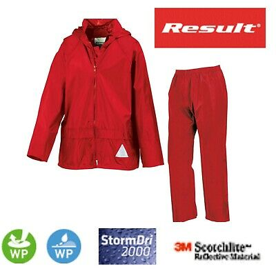 RESULT KIDS Child Boys Girls RED Waterproof Jacket and Trousers Rain Suit + Bag
