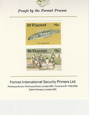 St Vincent 2905 - Tri Tri FISH imperf pair  on Format International PROOF  CARD