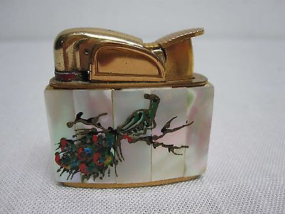 VINTAGE EVANS MOTHER OF PEARL LIGHTER with PEACOCK BIRD ~ EXCELLENT w BOX