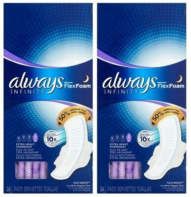 2 pk Always Infinity Extra Heavy Overnight Pads w/ Flexi Wings, 24 Ct