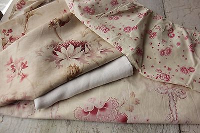Antique French fabric vintage material PROJECT BUNDLE scraps patchwork pillows