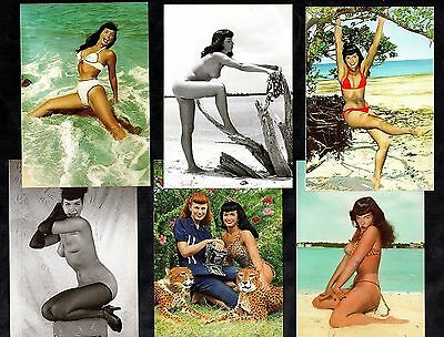 6 Glamour Postcards Bettie Page Pin-Up Girl Nylon Stocking Erotic Vintage Betty