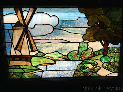 "Antique Scene Window 36"" by 25""  Windmill Landscape River Circa 1910"
