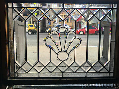 "Nice Antique Chicago Beveled Glass Leaded Transom Windows 40"" by 31"" Circa 1910"