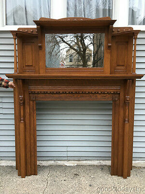 Antique Solid Oak Fireplace Mantel w/ Beveled Glass Mirror Circa 1900 - Mantle