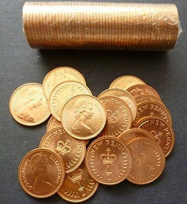 1971 Mint Sealed Roll Of Fifty Uncirculated Half Pence Pieces. 50 1971 1/2 P