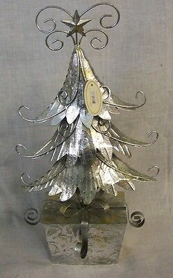 "NEW Silver Metal CHRISTMAS TREE ON PACKAGE BASE 16"" Tall TII Collections"