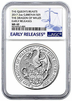 2017 Britain 2 oz Silver Queen's Beasts Dragon £5 NGC MS69 ER PRESALE SKU46059