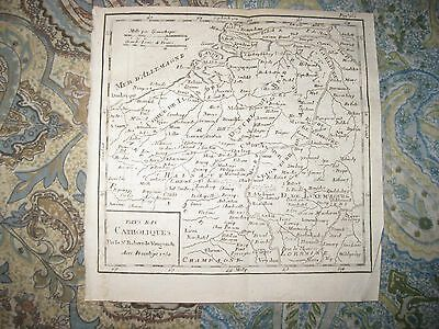Antique 1750 Catholic Netherlands Luxembourg Belgium Copperplate Vaugondy Map Nr