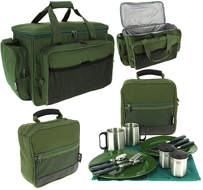 NGT Deluxe Fishing Camping Picnic Day Cutlery Set + Insulated Green Carryall Bag