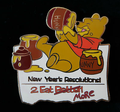Disney Auctions WINNIE THE POOH New Year Resolutions EAT MORE LE 100 Pin NOC