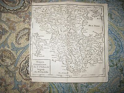 Early Antique 1750 Turkey In Europe Vaugondy Map Hungary Greece Constantinople