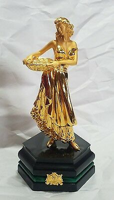 Estate Italian Cast Gilded Sterling Silver Sculpture Woman Holding A Tray * 7""