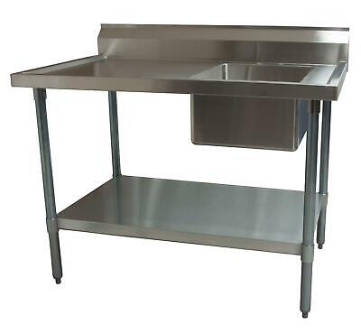 """BK Resources 60""""Wx30""""D Stainless Steel Prep Table w/ Right Side Sink"""