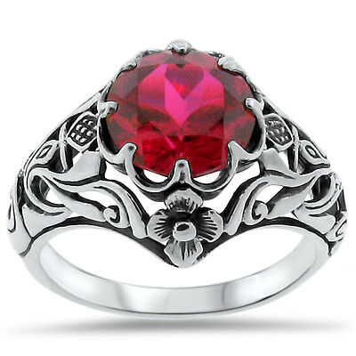 Art Nouveau Antique Style Lab Red Ruby .925 Sterling Silver Ring Size 7,   #321