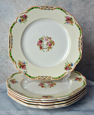 "Set 6  THE ASTORIA Square Luncheon Cake Plates 8.75"", W.H.Grindley Windsor Ivory"