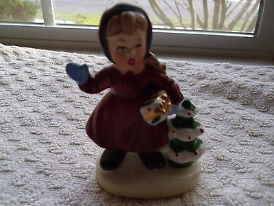 Vintage Napcoware From 1950'S Christmas- A Girl Holding Gift Figurine X 8366