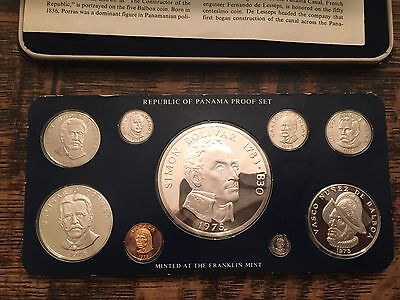 1975 Republic of Panama 9-Coin Proof Set ,Franklin Mint * STERLING SILVER