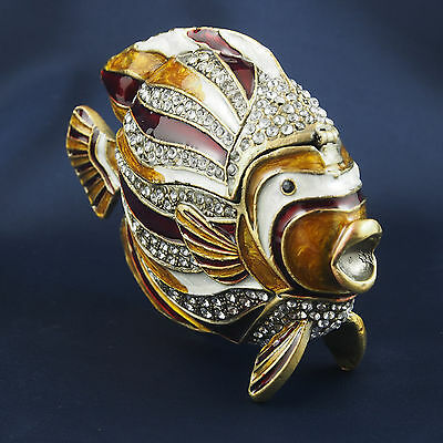 FISH Trinket Box Pewter Jewelled Crystals Red WhiteGold Hinged magnetic lid 10cm