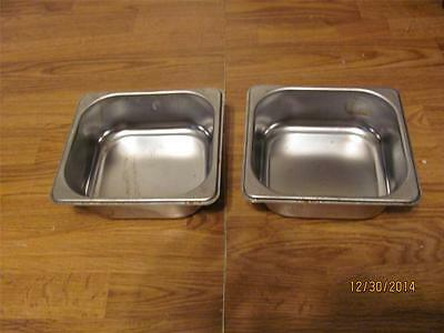 "2  Commercial Stainless  Steam Table  Pans 1/6 Size X 2""d-Guc"
