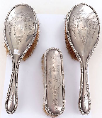 .a Good Large 1913 3 Pc English Sterling Silver Brush Set Maker William Aitken