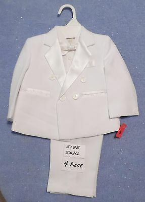 Boy's Formal Tuxedo Suit Toddler White 4 Piece Pants Jacket Bow Tie Size S New