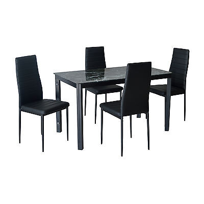 Black White Glass Dining Table and 4 / 6 Faux Leather Chairs Furniture Set NEW
