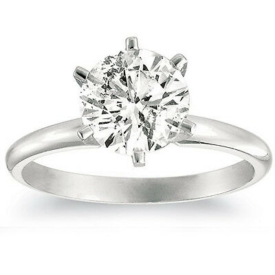 1 1/4ct Solitaire Natural Diamond Engagement Ring 14K White Gold Round Cut