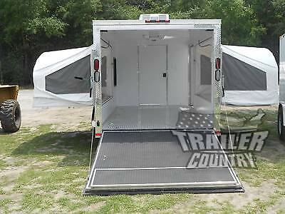 NEW 2017 7X16 7 x 16 V-NOSED ENCLOSED TRAILER POP-UP POP-OUT BEDS CAMPING TRAVEL