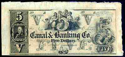 Canal Banking Company, New Orleans. Five Dollars, (1840s), Almost Uncirculated.