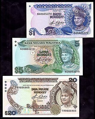 Malaysia. Three Notes, (1981-82),  inc One Ringgit replacement,  BA0605370.