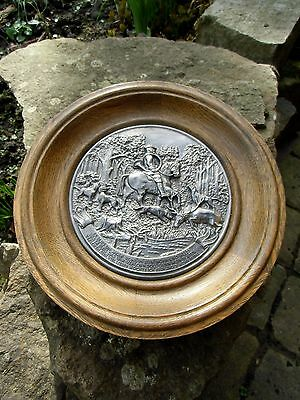 Vintage GERMAN Mid Century Pewter Wooden Plate Hunter `s Tale