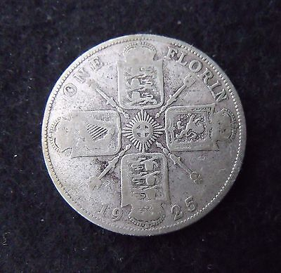 1925 Two Shillings Florin 2/- British coin George V Silver about F RARE Key date