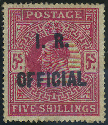 "SG O25 ""I.R.Official"" 5/- carmine, mint example, a good forgery of this rare sta"