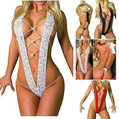 New Women Lingerie Lace Babydoll Dress Underwear G-string Nightwear Sleepwear N