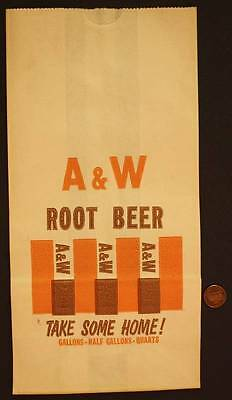 1970s Era A&W Root Beer Take Some Home large advertising paper bag-VINTAGE COOL!